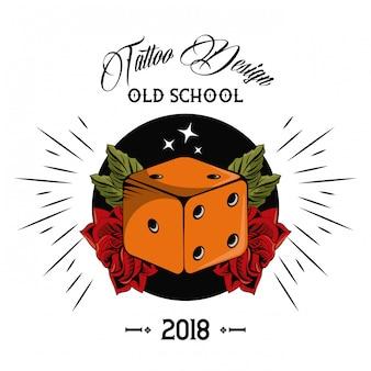 Old school tattoo dice drawing design