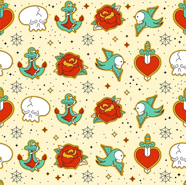 Old school tattoo hipster style seamless pattern