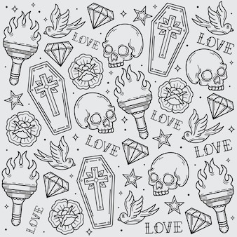 Old school tattoo pattern