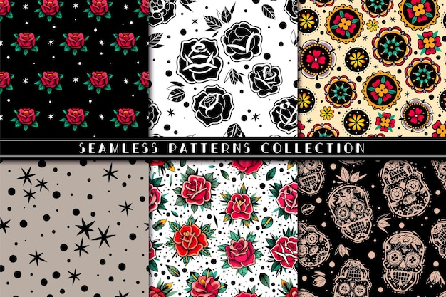 Old school tattoo roses seamless patterns set