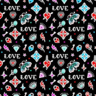 Старая школа татуировки бесшовные модели с символами любви. векторная иллюстрация. дизайн на день святого валентина, ходули, упаковочная бумага, упаковка, текстиль