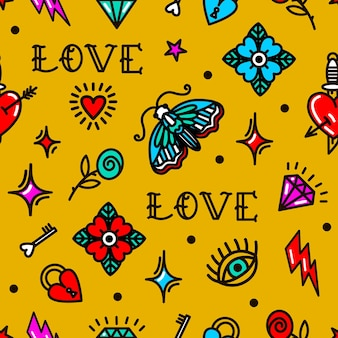 Old school tattoo seamless pattern with love symbols. vector illustration. design for valentine's day, stilts, wrapping paper, packaging, textiles