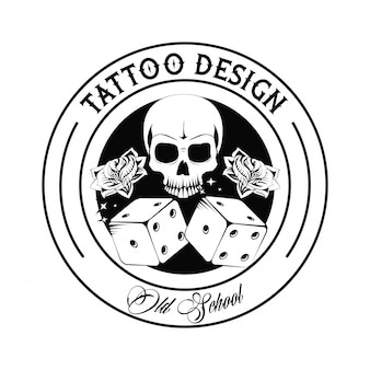 Old school tattoo skull and dices drawing design