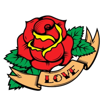 Old school tattoo style roses with ribbons  on white background. love.  elements for poster, postcard, t-shirt.  illustration