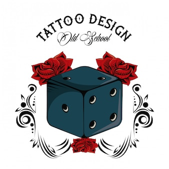 Old school tattoo with dice drawing design