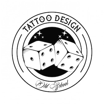Old school tattoo with dices drawing design