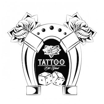 호스 슈 드로잉 디자인으로 구식 문신