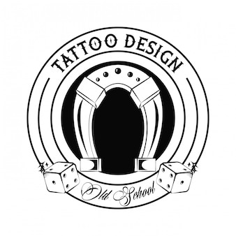 Old school tattoo with horseshoe drawing design
