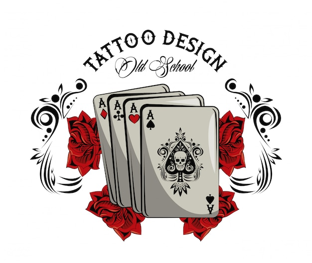 Premium Vector Old School Tattoo With Poker Cards Drawing Design