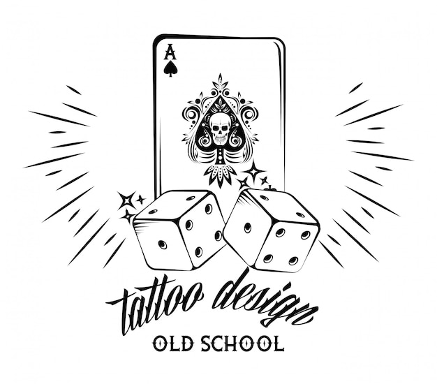 Old school tattoo with poker cards drawing design