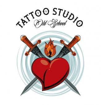 Old school tattoo with swords drawing design