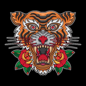 Old school traditional tiger head tattoos