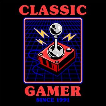レトロなビデオクラシックゲームゲーマーアーケードをプレイするための古い学校のビンテージジョイスティック。 tシャツアパレルバッジティー商品のオタク文化のデザインイラストアイコンゲームパッドコントローラーを印刷します。