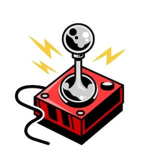 レトロなビデオゲームゲーマーアーケードをプレイするための古い学校のビンテージジョイスティック。