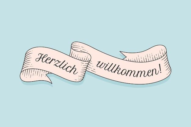 독일어 herzlich wllkommen에서 텍스트와 함께 올드 스쿨 빈티지 리본