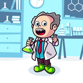 Old scientist with flask in laboratory cartoon illustration
