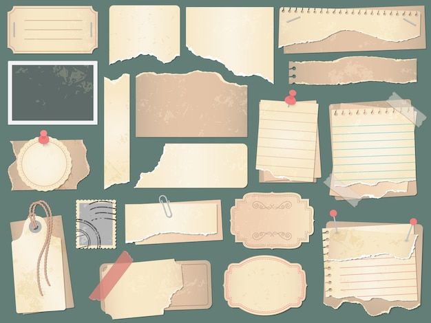 오래 된 스크랩북 종이입니다. 구겨진 종이 페이지, 빈티지 스크랩북 논문 및 레트로 사진 책 스크랩 그림