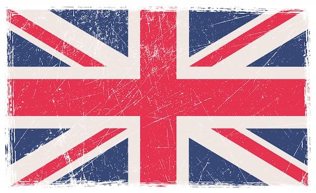 古い傷英国の旗 Premiumベクター