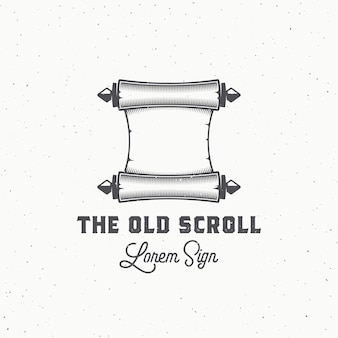 Old scroll abstract  sign, symbol or logo template.
