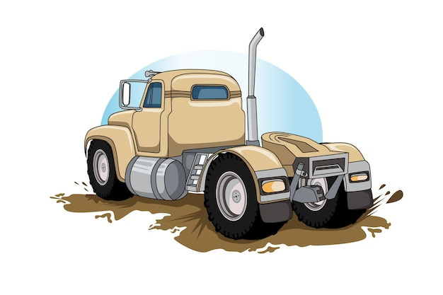 Old semi big truck vector hand drawing vector