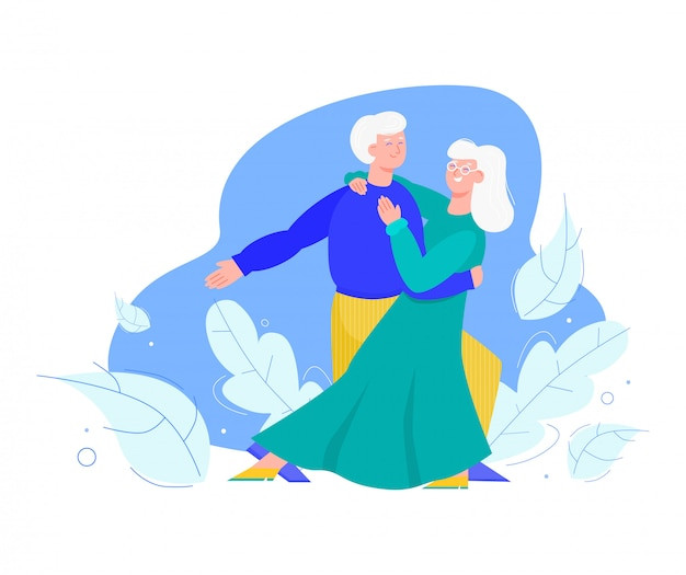 Old senior family couple dancing together cartoon vector illustration isolated.