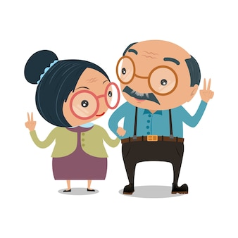 Old senior man and woman couples
