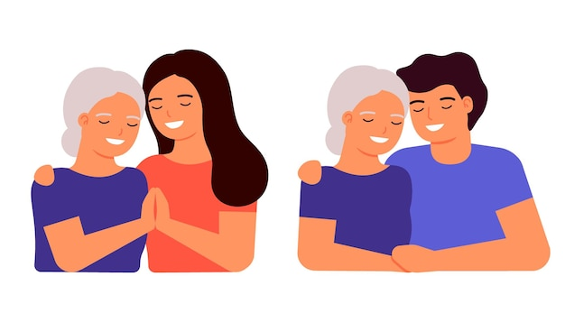 Old senior mother and adult son and daughter are hugging family love taking care and support