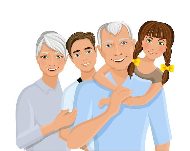 Old senior people family grandparents couple with grandchildren half-length portrait vector illustration