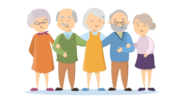 Old senior people set on white background. happy smiling people.