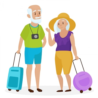 Old senior people tourists with suitcases