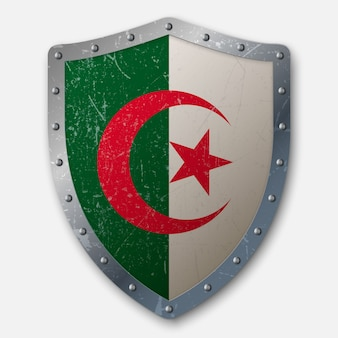 Old shield with flag of algeria