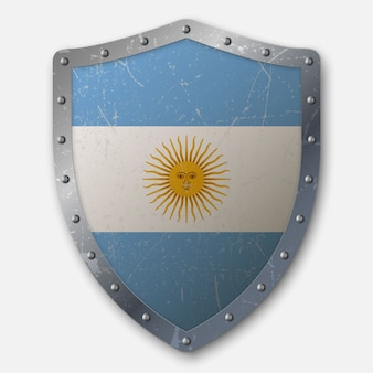 Old shield with flag of argentina
