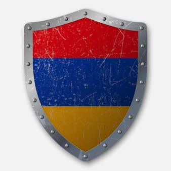 Old shield with flag of armenia