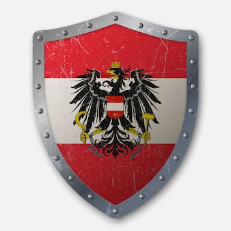 Old shield with flag of austria