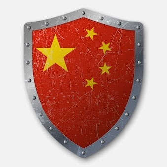 Old shield with flag of china