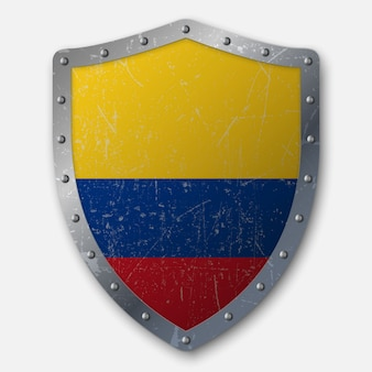 Old shield with flag of colombia