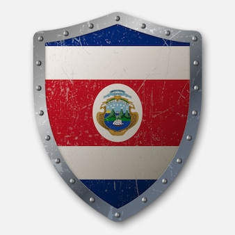 Old shield with flag of costa rica