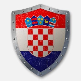 Old shield with flag of croatia