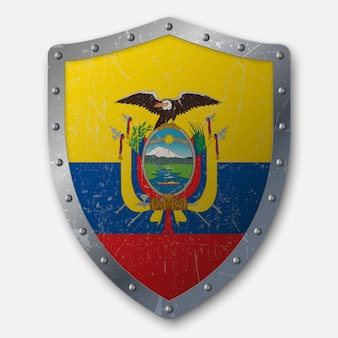 Old shield with flag of ecuador