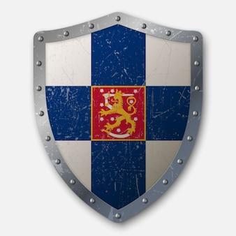 Old shield with flag of finland