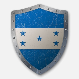 Old shield with flag of honduras