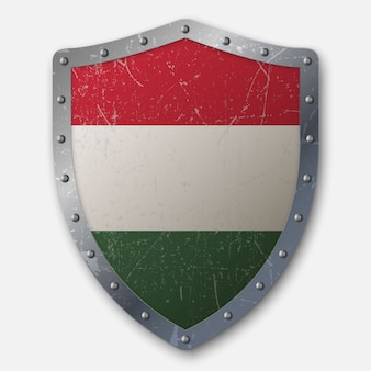 Old shield with flag of hungary