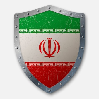 Old shield with flag of iran