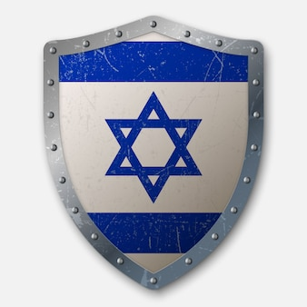 Old shield with flag of israel