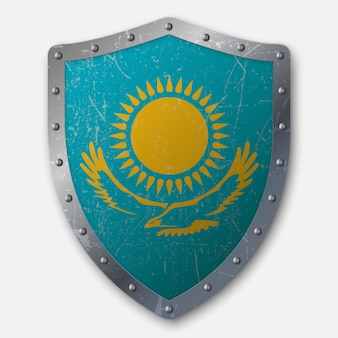 Old shield with flag of kazakhstan