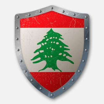 Old shield with flag of lebanon