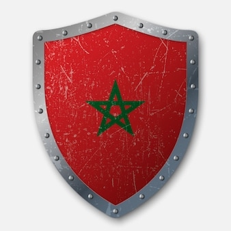 Old shield with flag of morocco