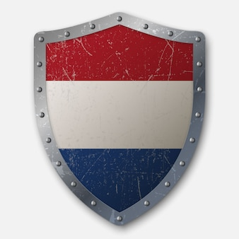 Old shield with flag of netherlands