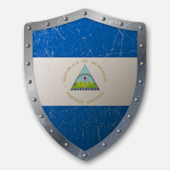 Old shield with flag of nicaragua