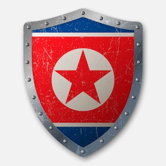 Old shield with flag of north korea